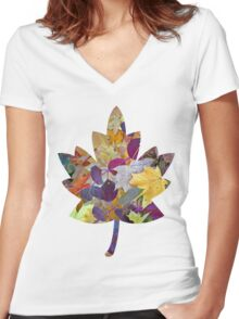 Beautiful Autumn Leaves Women's Fitted V-Neck T-Shirt