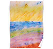 Abstract Ocean, watercolor PENCIL Poster