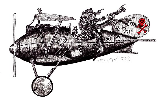 Funny crazy pilot on vintage plane. Black and white pen ink drawing by Vitaliy Gonikman