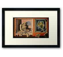 "Surreal Portents of Genius - oil on canvas - 45"" x 26"" Framed Print"