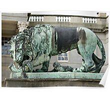 sculpture of lion, Wynyard Poster