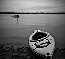Black and White Kayak and Sail boat by tintinplumber