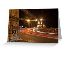 Light trails on Menai Suspension Bridge Greeting Card