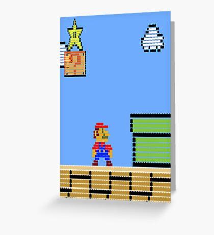 Mario Land Nes LegoBrick Style Greeting Card