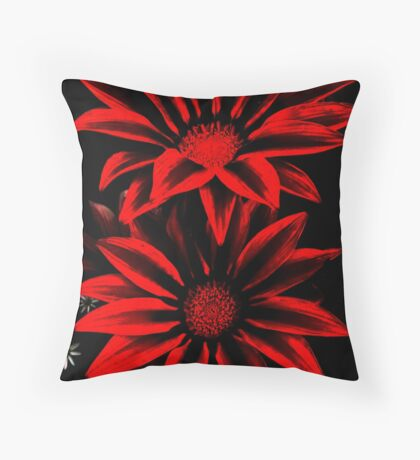 Red&Black Flowers Throw Pillow