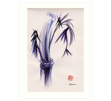 """rhythm and grace"" - Zen watercolor sumi e bamboo painting Art Print"