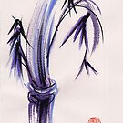 &quot;rhythm and grace&quot; - Zen watercolor sumi e bamboo painting by Rebecca Rees