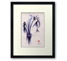 """rhythm and grace"" - Zen watercolor sumi e bamboo painting Framed Print"