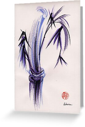 """rhythm and grace"" - Zen watercolor sumi e bamboo painting by Rebecca Rees"