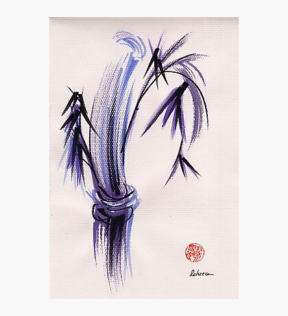 """rhythm and grace"" - Zen watercolor sumi e bamboo painting Photographic Print"
