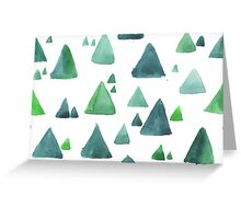 Water color  pattern with blue and green triangular shapes. Greeting Card