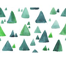 Water color  pattern with blue and green triangular shapes. Photographic Print