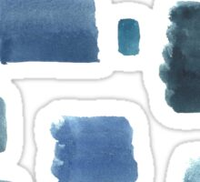 Water color  pattern with blue  square shapes. Sticker