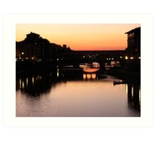 Sunset on the Pontevecchio (Firenze) Italy Art Print