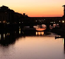 Sunset on the Pontevecchio (Firenze) Italy by bertipictures