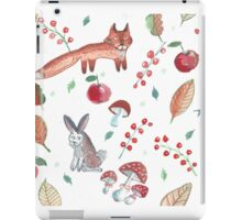 Water color pattern set of forest with fox, hare, hedgehog, bird,  autumn leaves, berries, mushrooms. iPad Case/Skin