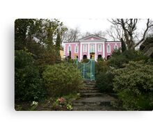 Portmeirien Wales, pink manor house shrubbery. Canvas Print