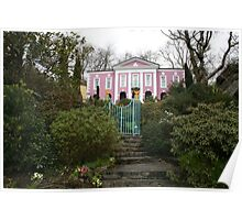 Portmeirien Wales, pink manor house shrubbery. Poster
