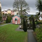 Portmerion Wales, village centre, storm brewing. by Grace Johnson
