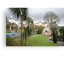 Portmerion Wales, colourful houses with storm brewing. Canvas Print