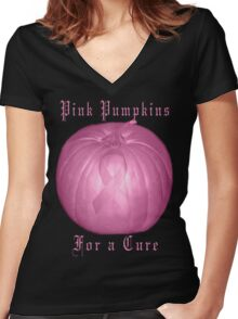 ♂ ♀❤ 。◕‿◕。 ☀ ツPink Pumpkins For A Cure T-Shirt (Cancer Awareness)♂ ♀❤ 。◕‿◕。 ☀ ツ Women's Fitted V-Neck T-Shirt