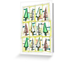 Graphic fir trees 80s style Greeting Card