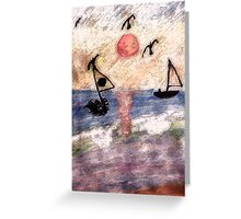 #2  Abstract Ocean, series, watercolor  and pencil Greeting Card