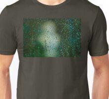 Rainy Window overlooking sculpture. Unisex T-Shirt