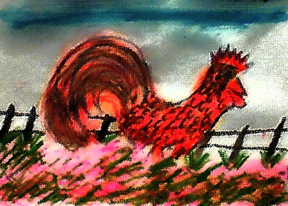#4 Rooster, king of te yard!  watercolor and pencil by Anna  Lewis, blind artist