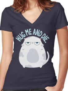 Cats Hate Hugs Women's Fitted V-Neck T-Shirt