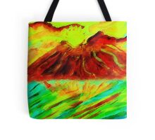 Volcano mountain at sunset #2 watercolor Tote Bag
