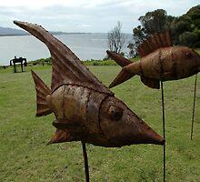 Sculptures on Edge-Fish on sticks,Australia 2015 by muz2142