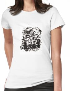 Black Flower. Womens Fitted T-Shirt