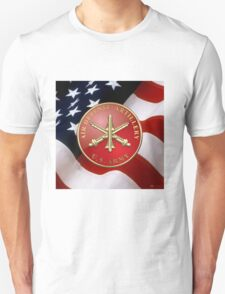 Air Defense Artillery - ADA Branch Insignia over U. S. Flag T-Shirt