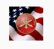 Air Defense Artillery - ADA Branch Insignia over U. S. Flag Unisex T-Shirt