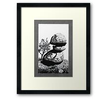 Boulders with Live Oak Tree Framed Print