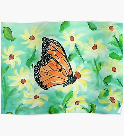 At last I made a butterfly,,,watercolor Poster