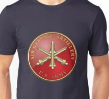 Air Defense Artillery - ADA Branch Insignia over Blue Velvet Unisex T-Shirt