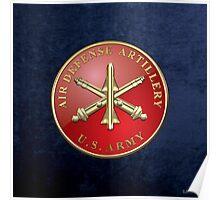 Air Defense Artillery - ADA Branch Insignia over Blue Velvet Poster