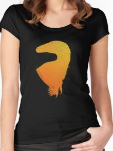 Orange Warmth Deinonychus Silhouette Women's Fitted Scoop T-Shirt