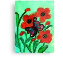 Red Poppies and #2 butterfly, watercolor Metal Print