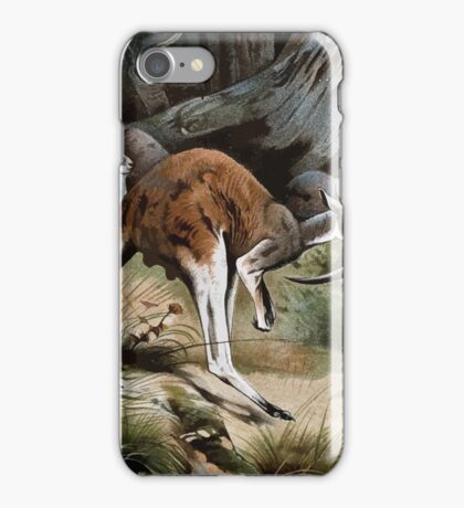 Friedrich Wilhelm Kuhnert A group of Red kangaroos on the move Colour reproduction of Wellcome iPhone Case/Skin