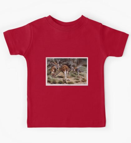 Friedrich Wilhelm Kuhnert A group of Red kangaroos on the move Colour reproduction of Wellcome Kids Tee