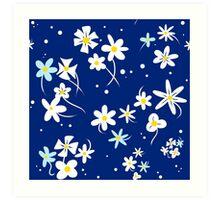 ChibiUsa's Blue Floral Dress Manga Pattern Art Print