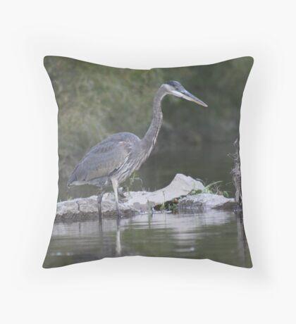 Blue Heron on the Milwaukee River Throw Pillow