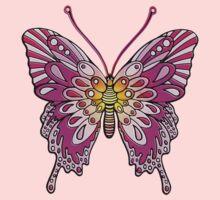 Original Butterfly Design Pink Yellow Kids Tee