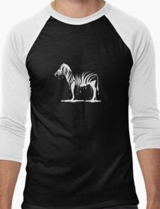 zebra melting on black Men's Baseball ¾ T-Shirt