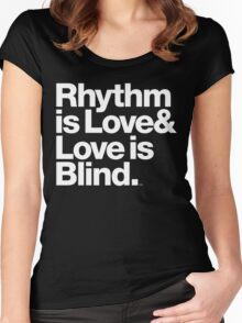 André Cymone Love to Dance Electric Helvetica Threads Women's Fitted Scoop T-Shirt