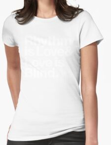 André Cymone Love to Dance Electric Helvetica Threads Womens Fitted T-Shirt