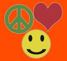 peace, love and happiness Kids Tee
